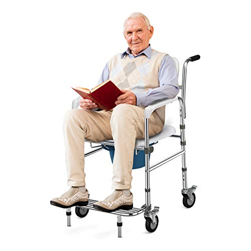 COSTWAY Comoda per Doccia WC, Sedia da Doccia Altezza Regolabile, Lega di Alluminio