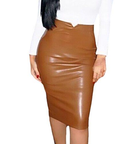 Faldas Midi Mujer Elegante Otoño Invierno Falda Cuero Tubo Polares Cintura Alta Slim Color Sólido