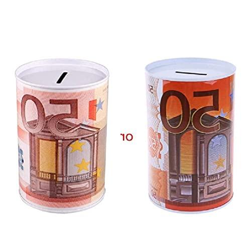 Ranuw Creativo Euro Dólar Metal Cilindro Hucha Ahorro Hucha Caja de Dinero Decoración del Hogar Caja de Dinero lata que no puede abrir