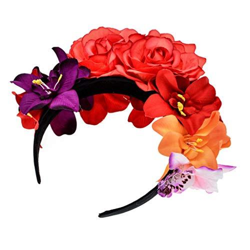MINGSTORE Diadema de Corona de Flor Rosa simulada Mexicana para Mujer Da de los Muertos Tocado de Halloween Colorido estambre Falso Fiesta aro de Pelo