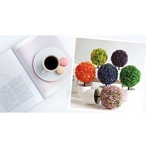 Fansi Unechte Grüne Topfpflanze Künstliche Deko Blume Kunststoff TopfPflanzen Kreativer Miniball vergossen Draussen Balkon Topf Hochzeit Garten Dekoration - 6