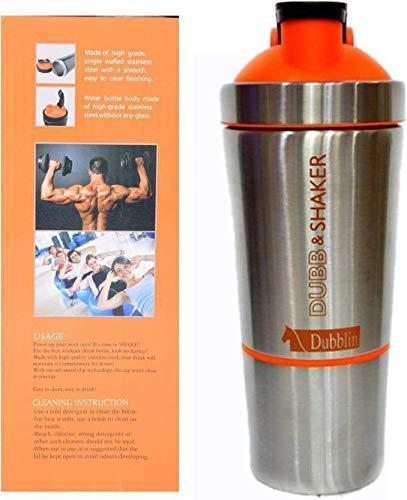 Dubblin Dubb & Shaker 750 ml Steel Shaker (Pack of 1, Silver, Orange)