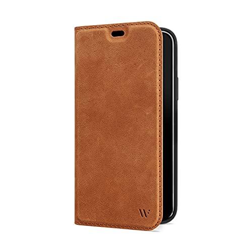 WIIUKA Hülle für iPhone 13 Mini, Deutsches Nubukleder, mit Kartenfach, extra Dünn, Handyhülle mit Standfunktion, Tasche Vintage Braun