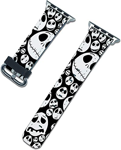 Halloween Nightmare before Christmas band compatible with apple watch series SE 6 5 4 3 44mm 40mm 42mm 38mm iWatch replacement strap pumkin design (Black, 40/38mm)
