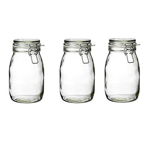 IKEA KORKEN Dosen mit Deckel; aus Klarglas; (1,8l); 3 Stück