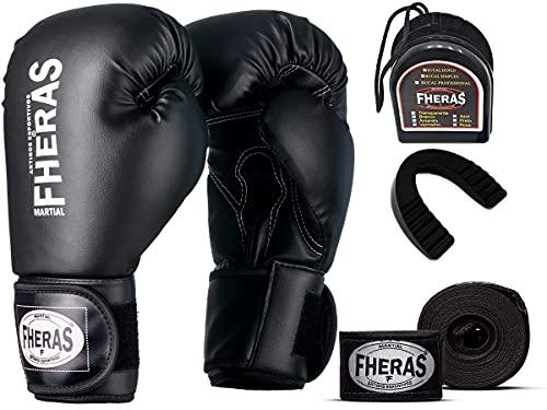 Kit Luva de Boxe Muay Thai MMA Bandagem e Bucal 12oz Preto