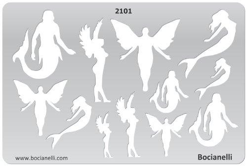 15cm x 10cm Normographe Plastique Transparent Trace Gabarit de Dessin Conception Graphique Art Artisanat Fabrication Bijoux Illustration - Anges Elfes Sirènes