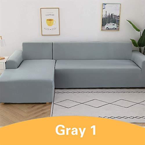 Cubierta de sofá mágica sólida para la sala de estar Corrector de sofá Sección de sofás protector de silla 1/2/3/4 Seaver con fuerza 2pcs (color: gris claro, especificación: 45x45cm Funda de almohada