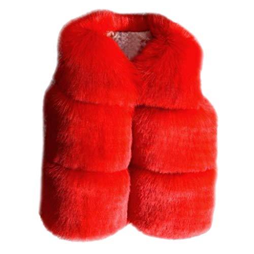Deloito Herbst Winter Pelzjacke Kleinkind Baby Kleidung Mädchen Süß Faux Pelz Weste Mantel Dicke Warme Fellweste Armellose Fleecejacke Outwear Tops (Rot,140/5-6 T)