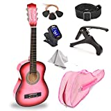 30' Wood Guitar with Case and Accessories for Kids/Girls/Boys/Beginners (Pink Gradient)