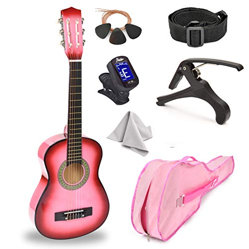 30' Wood Guitar with Case and Accessories for Kids/Girls/Boys/Beginners (Pink...
