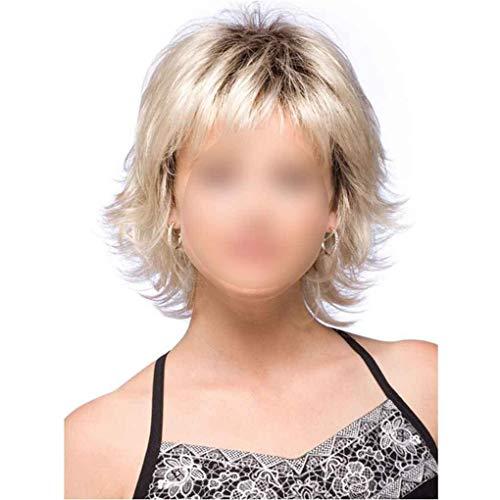 Perruque Mesdames Synthétique Droite Courte Blonde Bouclée De Cheveux Mesdames Courte De Cheveux Blonds Pleine Bob
