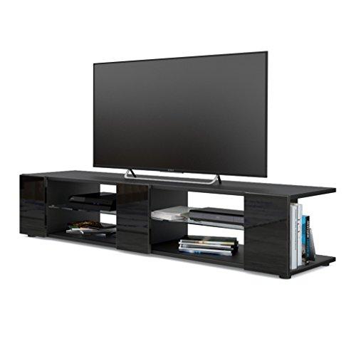 Vladon Mesa para TV Lowboard Movie V2, Cuerpo en Negro Mate/Frentes en Negro de Alto Brillo