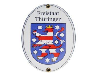Thüringen Freistaat Emaille Schild Freistaat Thüringen 11,5 x 15 cm Emailschild Oval.