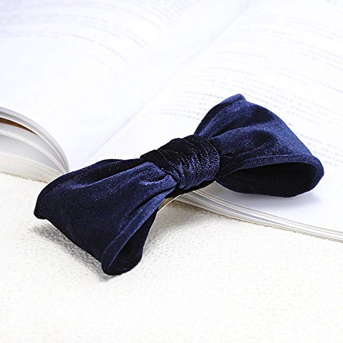 Tony plate Accessoires pour Cheveux Vintage Velours De Bohème Big Bow Barrette Double Couche Noeud Pince À Cheveux Accessoires pour Cheveux Head Wear-Bleu Marin