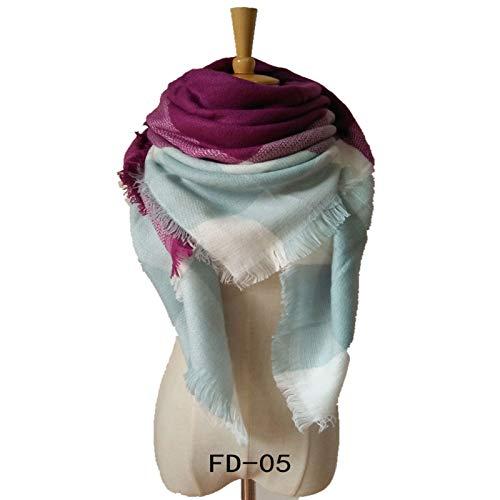 yxr Otoño e Invierno Nuevo Amarillo-Gris Imitación Cachemira Grande Cuadrado Bufanda Bufanda Mujer Plus Chal Doble Cara