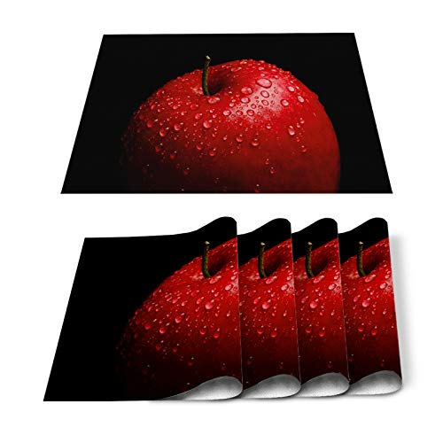 Placemats Set of 4 Watercolor Red Fruit Apples and Water Drops Kitchen Decor, Stain Resistant Washable Table Place Mats for Kitchen Dining Tables Black