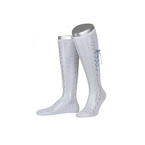 ALMBOCK Trachtensocken Damen weiß - lang Kniestrümpfe für Wiesn, Wasen - verfügbar in Größe 36-38, 39-40, 41-42