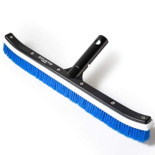 """Aquatix Pro Pool Brush, 18"""" Curved Head for Cleaning Swimming Pool Floors, Walls, Tiles & Steps, Heavy Duty Scrubber Brushes with Aluminum Attachment Handle, Tackles Algae & Stains, Soft PP Bristles (Purple)"""