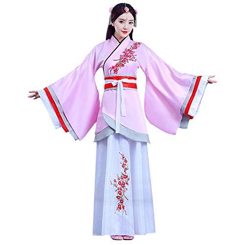 Xingsiyue Mujer Chino Hanfu Vestido - Antiguo Tradicional Disfraz Traje Tang Princesa Chaise Vestido Traje de Rendimiento (Rosa, M)