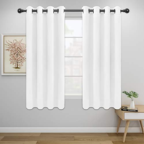 Easy-Going Blackout Curtains for Bedroom, Solid Thermal Insulated Grommet and Noise Reduction Window Drapes, Room Darkening Curtains for Living Room, 2 Panels(52x63 in,White)