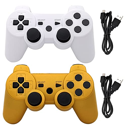 Ceozon PS3 Controller Wireless Playstation 3 Controller Bluetooth Gamepad Compatible for 2 Pack Sony PS3 Controller Wireless Remote Joystick with Charging Cables White and Gold
