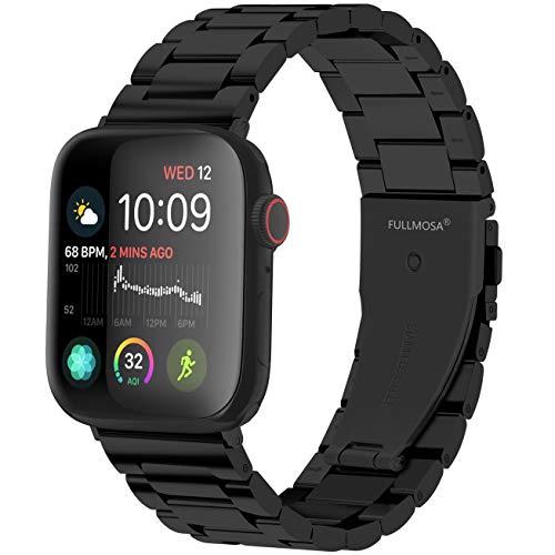 Fullmosa Cinturino per Apple Watch 42mm/44mm, Cinturino in Acciaio Inossidabile Compatibile con iWatch, Cinturini per Apple Watch Serie SE 6 5 4 3 2 1, Nero