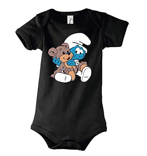 TRVPPY Baby Kurzarm Body Strampler Modell Baby Schlumpf, Gr. 3-6 Monate, Schwarz
