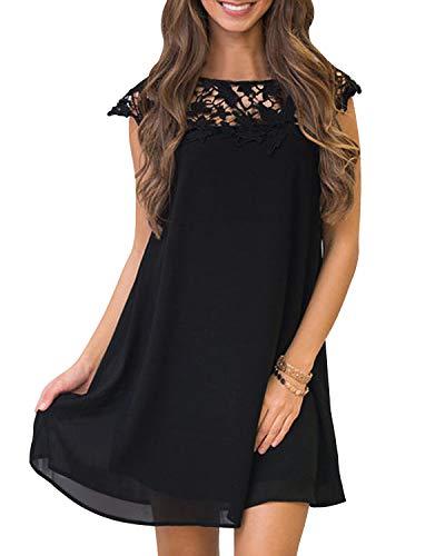 YOINS Sommerkleid Damen Kleider A-Linie Loose Kleid Elegant Spitzekleid Minikleid Rundhals Strandkleid Strandmode B-schwarz M