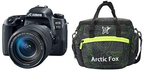 Canon EOS 77D 24.2MP Digital SLR Camera + EF-S 18-135 mm 3.5-5.6 is USM Lens + Arctic Fox Sling Shutter Topography Camera Bag