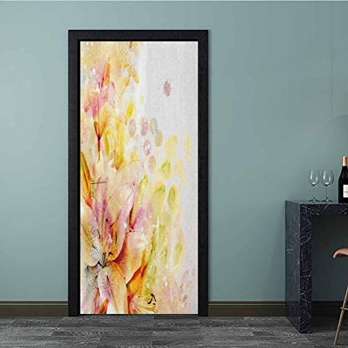 Homesonne Wall Decals Watercolored Lilies Flowers Buds Leaves Colored Marks Artwork Bathroom Door Decal Cover Up The Bland White Refrigerator Cream Pale Pink and Peach 77x200 CM