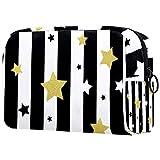 ATOMO Bolsa de maquillaje, bolsa de viaje para cosméticos, bolsa de aseo grande, organizador de maquillaje para mujer, diseño de estrellas en color negro, blanco y dorado