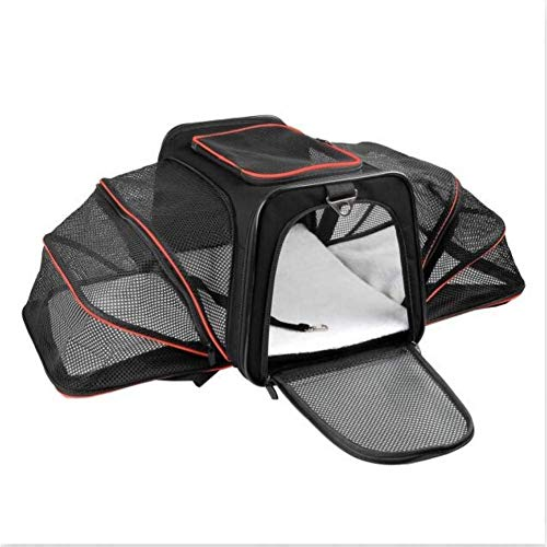 LBSX Pet Carrier for Dogs & Cats - Airline Approved Premium Expandable Soft Animal Carriers - Portable Soft-Sided Air Travel Bag - Best for Small or Medium Dog and Cat