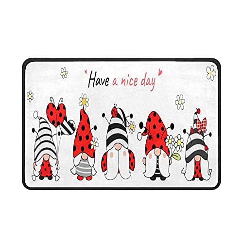 Cartoon Ladybug Gnomes Doormat Rug Easy to Clean Non Slip Backing Entry Way Doormat Floor Mat for Patio Front Door Entry Garage Kitchen Bathroom Laundry Room All Weather Indoor/Outdoor