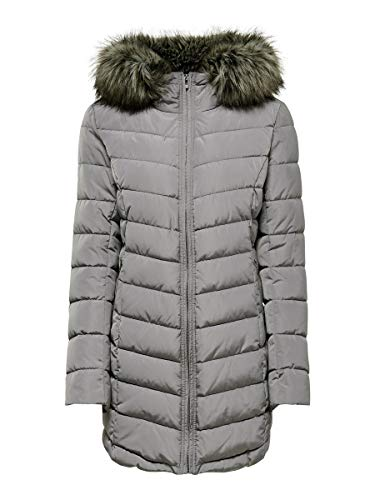 Only ONLELLAN Quilted Hood Fur Coat OTW Abrigo, Gris (Silver Filigree Silver...