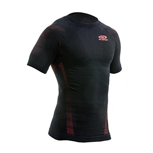 BV SPORT HAUT TECHNIQUE R TECH MANCHES COURTES NOIR ET ROUGE tee shirt de compression