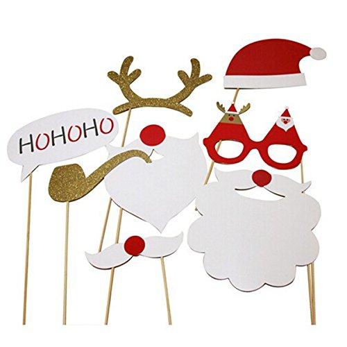 rosenice Photo Booth Requisiten Gläser Schnurrbart Deer Horn Santa Hat für Weihnachten Party Supplies 8Stück