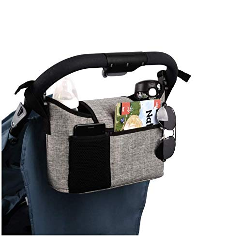 Evedaily Buggy Pram Bag Organiser, 11L Large Capacity for Baby Accessories with 2 Deep Cup Holders & Shoulder Strap Used as Carry-On Handbag-Universal Fit All Buggy Models (Grey)