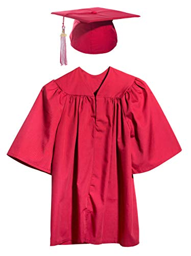 Red Child Graduation Set, Cap, Gown, Tassel, Charm, Medium