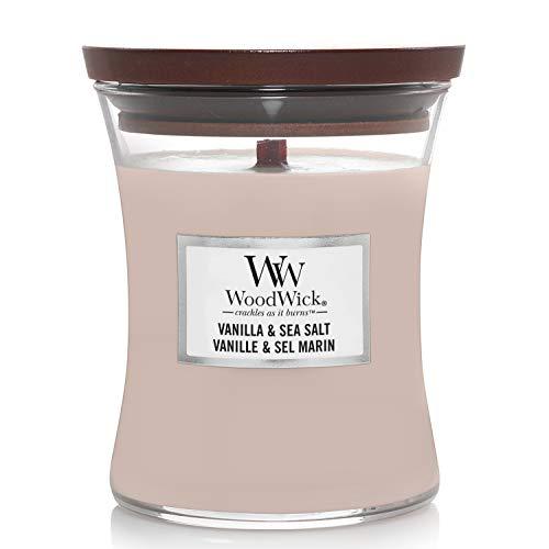 WoodWick mittelgroße Duftkerze im Sanduhrglas mit knisterndem Docht, Vanilla & Sea Salt, bis zu 60 Stunden Brenndauer