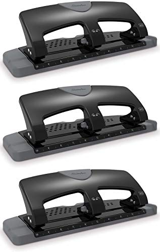 Swingline 3 Hole Punch, Hole Puncher, SmartTouch, 20 Sheet Punch Capacity, Low Force, Black/Gray (74133) - 3 Pack