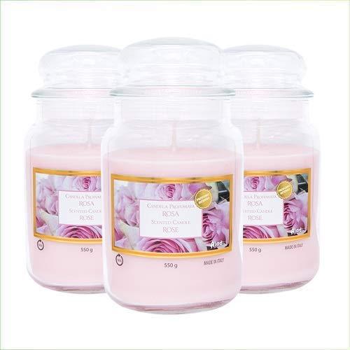 Palucart Candele profumate in Giara Grande Set da 3 Candele profumate Relax Candle (Rosa)