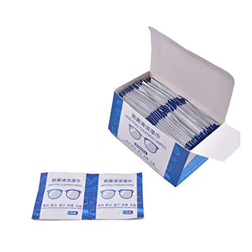 50 toallitas antiniebla para gafas pre-humedecidas y antivaho envueltas individualmente desechables desechables para gafas