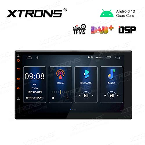 XTRONS Android 10.0 Car Stereo Radio Player 7 Inch Touch Screen GPS Navigation Universal Double Din Built-in DSP Bluetooth Head Unit Supports Android Auto Full RCA Backup Camera WiFi OBD2 DVR TPMS