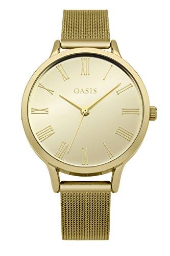Oasis Damen Datum klassisch Quarz Uhr mit Aluminium Armband B1623