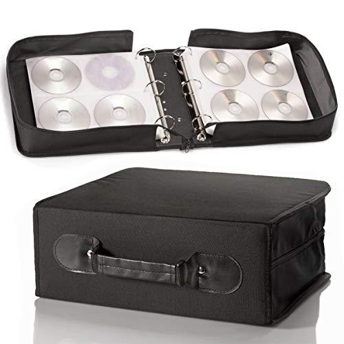 GOODS+GADGETS Pochette de rangement pour CD et DVD en nylon résistant et intercalaires en tissu avec fermeture éclair (240 CD)