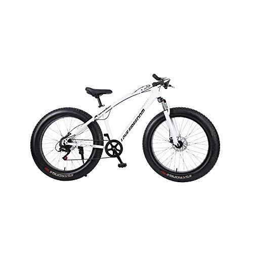 DRAKE18 Fat Bike, 26 Pulgadas Cross Country Mountain Mountain 7 Speed Beach Snow Mountain 4.0 Grandes neumáticos Adultos al Aire Libre