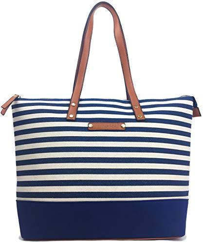 Savvy Street Canvas Bag Strandtasche mit Reißverschluss Designer Tote Bag BEACH Große Umhängetasche Shopper Sommer Tasche mit Kunstledergriffen, Blau - Marineblau/Natur - Größe: Large