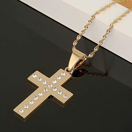 Collar de Cruz de Piedra Blanca Colgante Color Oro INRI Jesús Crucifijo Cristianismo Cruz Cadena Joya