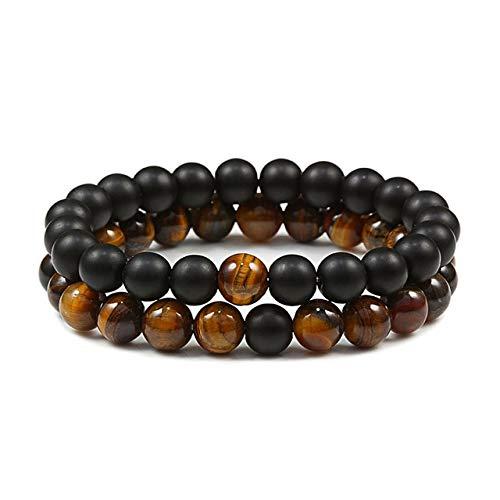 2 unids/set pulsera de cuentas de tigre natural encanto de piedra ónix cuentas par distancia pulseras para mujeres hombres amigos regalo estiramiento joyería